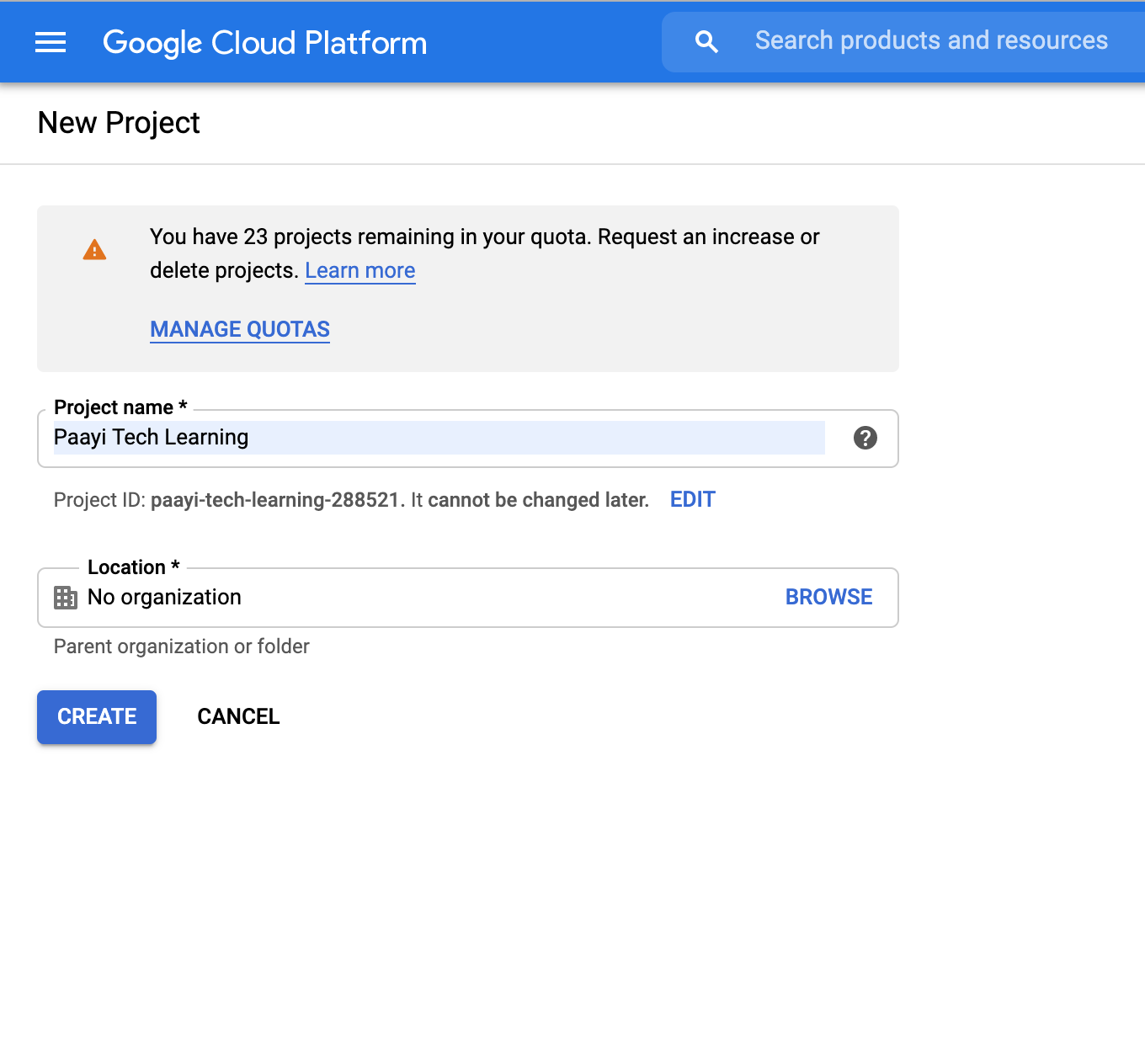 ad your project name in gcp projects and click create paayi gcp tutorials